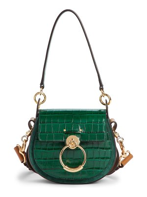 Chloe small tess croc embossed calfskin shoulder bag