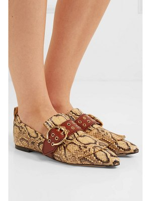 Chloe snake-effect leather loafers