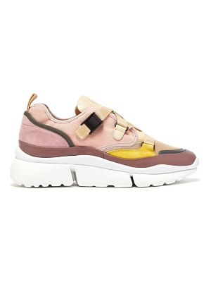 Chloe sonnie raised-sole canvas and leather trainers