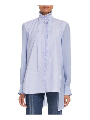 Chloe Stand-Collar Ruffled Long-Sleeve Mixed-Media Shirt