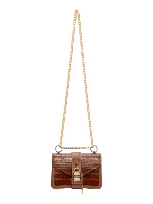 Chloe tan croc aby chain bag
