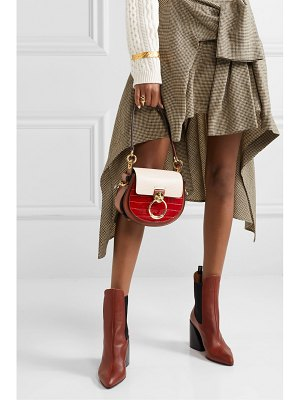 Chloe tess small croc-effect and lizard-effect leather shoulder bag
