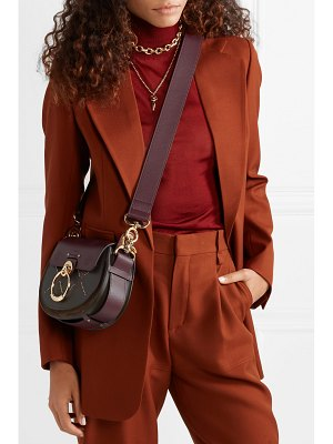 Chloe tess small studded embroidered leather and suede shoulder bag