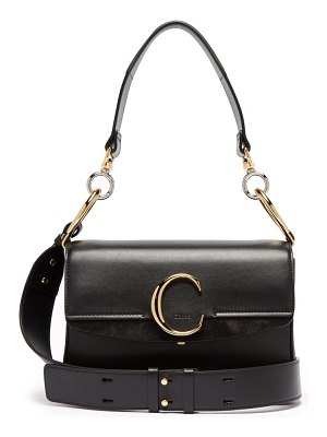 Chloe the c leather and suede shoulder bag
