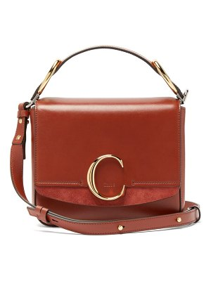 Chloe the c squared leather and suede cross body bag