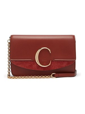Chloe the c leather and suede cross body bag