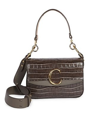 Chloe the  croc-embossed leather shoulder bag