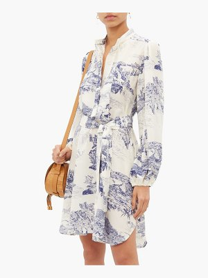 Chloe toile print silk crepe de chine shirtdress