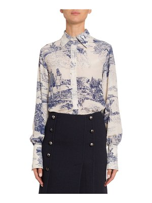 Chloe Toile Silk Button-Front Top