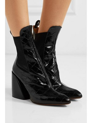 Chloe wave croc-effect leather ankle boots