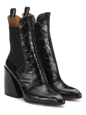Chloe wave embossed leather ankle boots