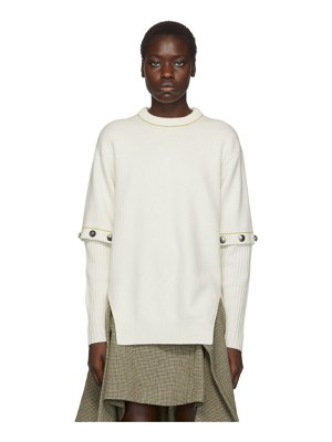 Chloe white buttoned sleeve sweater
