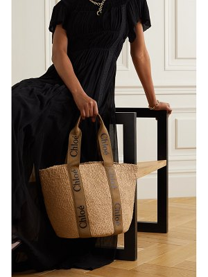 Chloe woody large printed canvas and leather-trimmed raffia tote