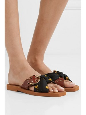 Chloe woody leather and printed satin-twill slides