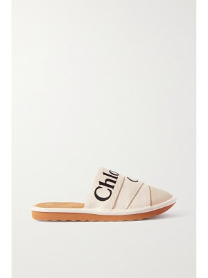Chloe woody logo-print canvas and leather slippers