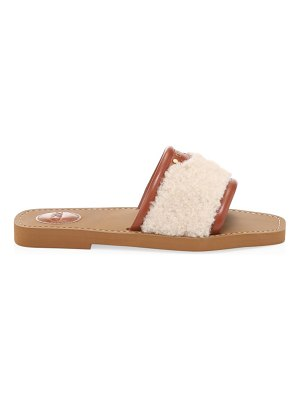 Chloe woody shearling & leather flat sandals