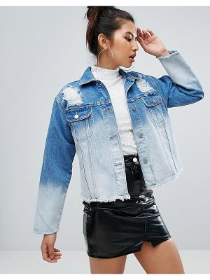Chorus bleached oversized distressed raw hem denim jacket