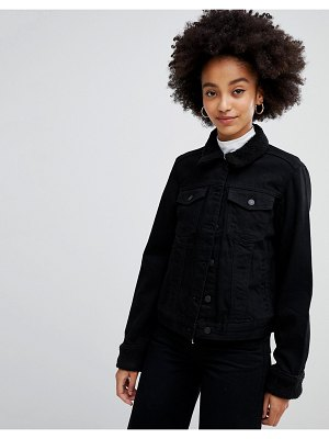 Chorus boxy denim jacket with teddy trims