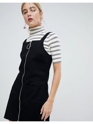 Chorus circle puller zip up denim pinafore dress