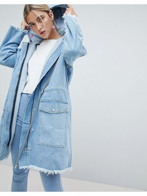Chorus denim parka with checkerboard drawstrings