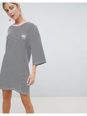 Chorus flared sleeve striped t-shirt dress with embroidery
