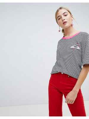 Chorus heart hands embroidered stripey t-shirt