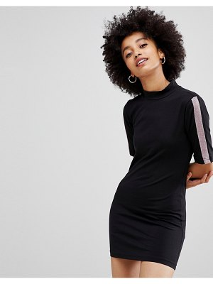 Chorus high neck jersey dress with glitter side stripes