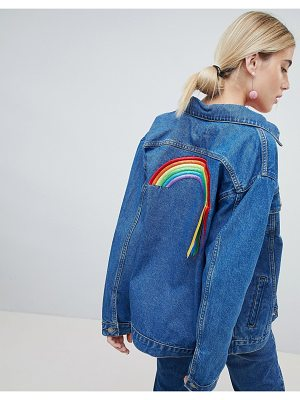 Chorus oversized denim jacket with rainbows ribbons back