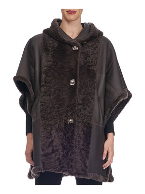 Christia Reversible Hooded Button-Front Shearling Cape