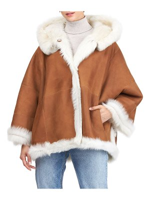 Christia Reversible Shearling Lamb Hooded Jacket with Cropped Sleeves