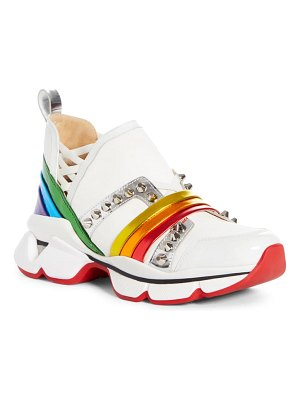 Christian Louboutin 123 run studded rainbow slip-on sneaker