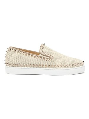 Christian Louboutin boat spike embellished woven slip on trainers