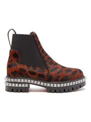 Christian Louboutin by the river studded leopard print calf hair boots