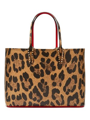 Christian Louboutin Cabata Leopard Print Grained Leather Tote