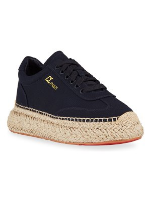 Christian Louboutin Canvas Lace-Up Espadrille Sneakers