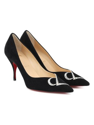 Christian Louboutin cl 80 embellished suede pumps