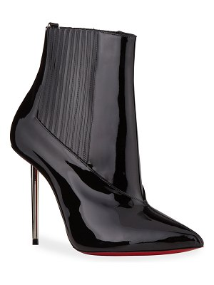 Christian Louboutin Epic 100mm Patent Red Sole Stiletto Booties