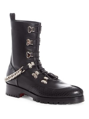 Christian Louboutin guarda chain strap combat boot