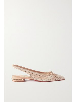 Christian Louboutin hall 20 spiked perforated suede slingback point-toe flats