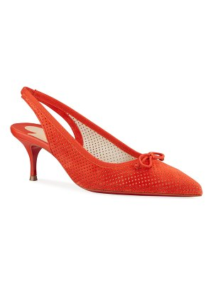Christian Louboutin Hall Red Sole Perforated Kitten-Heel Slingback Pumps