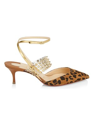 Christian Louboutin levita 55 leopard, spiked translucent & leather ankle strap pumps