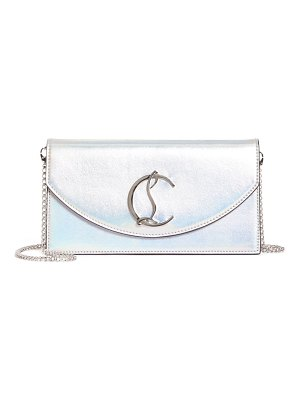 Christian Louboutin loubi54 metallic leather clutch
