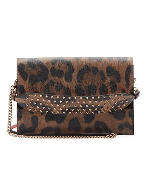 Christian Louboutin Loubiblues Leopard-Print Clutch Bag with Empire Spikes