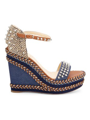 Christian Louboutin madmonica platform leather & denim wedge sandals