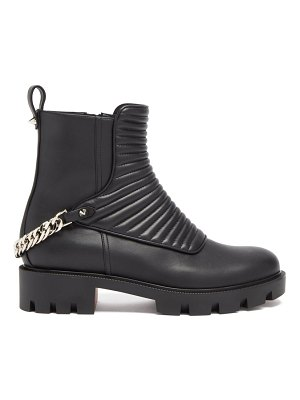 Christian Louboutin maddic max chain-link ribbed-leather ankle boots