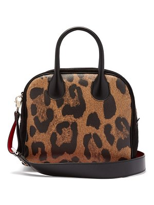Christian Louboutin marie jane leopard print leather and suede bag