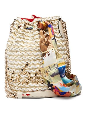 Christian Louboutin marie jane woven jute bucket bag