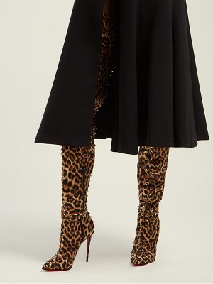 Christian Louboutin metrolisse 100 leopard print over the knee boots