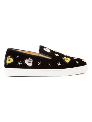 Christian Louboutin miss academy crest embroidered velvet trainers