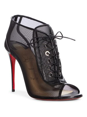 Christian Louboutin ondessa mesh lace up peep toe bootie